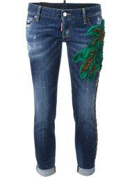 джинсы с аппликацией пальмы  Dsquared2