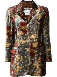 бархатный пиджак с графическим принтом Moschino Vintage