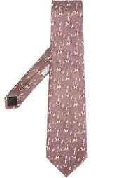 галстук с принтом лошадей Hermès Vintage