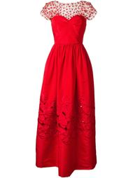 вечернее платье с панелью из тюля Oscar de la Renta