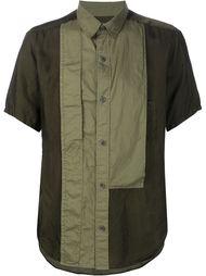 рубашка с контрастным нагрудником Yohji Yamamoto