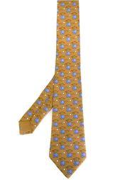 галстук с принтом бегемотов Hermès Vintage