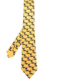 галстук с принтом рыб Hermès Vintage