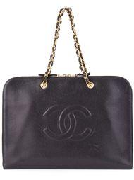 плоский портфель с логотипом Chanel Vintage