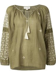 блузка с вышивкой на рукавах Nili Lotan