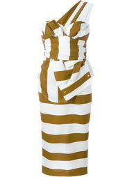 полосатое платье на одно плечо Nº21