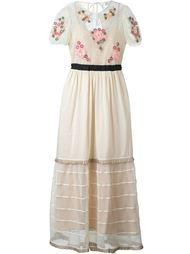 длинное платье с цветочной аппликацией Red Valentino