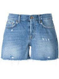 джинсовые шорты с бахромой 7 For All Mankind