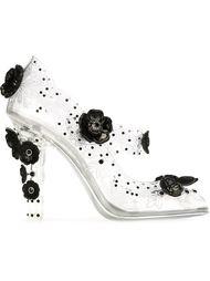 туфли с цветочной аппликацией  Dolce & Gabbana