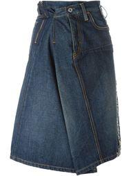 драпированная джинсовая юбка А-силуэта Junya Watanabe Comme Des Garçons