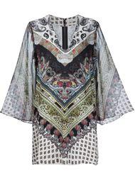 платье-кафтан с комбинированным принтом Alice+Olivia