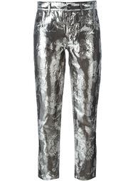 жаккардовые брюки с отделкой металлик Maison Margiela