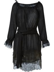 плиссированное платье с отделкой металлик Alberta Ferretti