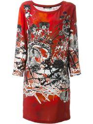 платье шифт с цветочным принтом Roberto Cavalli