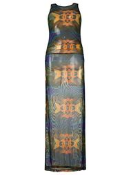 sheer printed beach dress Blue Man