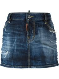 джинсовая юбка с потертой отделкой Dsquared2
