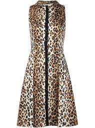 расклешенное платье с леопардовым принтом Carolina Herrera