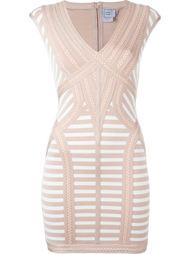 полосатое приталенное мини-платье Hervé Léger