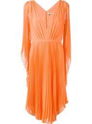 плиссированное платье с V-образным вырезом Halston Heritage