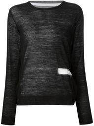 свитер с контрастной сетчатой деталью Yohji Yamamoto
