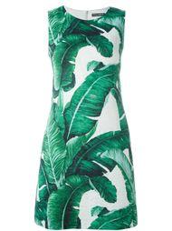 жаккардовое  платье с принтом банановых листьев Dolce & Gabbana