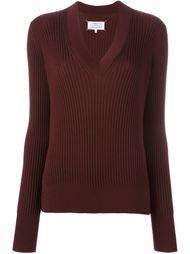 свитер ребристой вязки с V-образным вырезом Maison Margiela