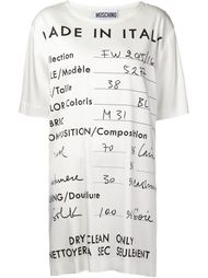 футболка с принтом-описанием предмета одежды Moschino