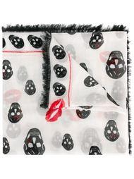 шарф с принтом черепов и губ Alexander McQueen