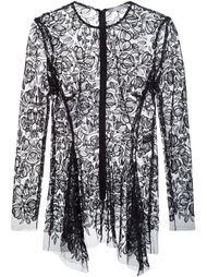 прозрачная блузка с цветочной вышивкой Lela Rose