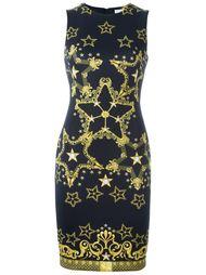 приталенное платье с принтом звезд Versace Collection