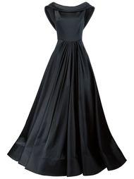 длинное плиссированное платье с воротником-хомутом Christian Siriano