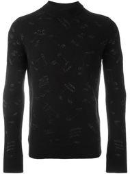 свитер с принтом музыкальных нот Saint Laurent