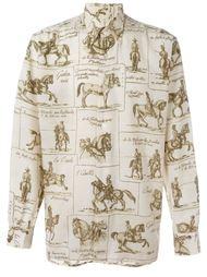 рубашка с принтом лошадей Hermès Vintage