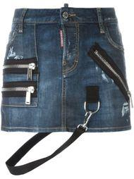 джинсовая юбка мини с ремешками Dsquared2