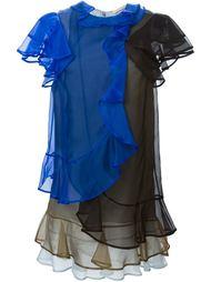 трехцветное многослойное платье с рюшами Christopher Kane