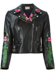 байкерская куртка с цветочной вышивкой  Christopher Kane