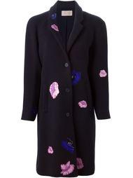 однобортное пальто с цветочными нашивками Christopher Kane