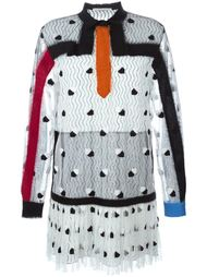 платье с кружевным слоем и аппликацией из войлока Marco De Vincenzo