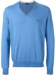 свитер с V-образным вырезом и контрастной окантовкой Fay