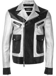 двухцветная кожаная куртка  Dsquared2