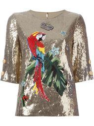 топ в пайетках с элементом попугая Dolce & Gabbana