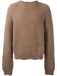 свитер с рваными деталями   J.W.Anderson