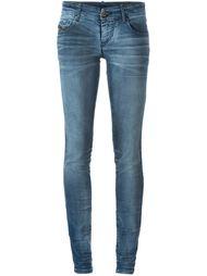 выбеленные джинсы кроя скинни   Diesel