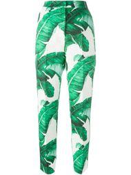 парчовые брюки с лиственным принтом Dolce & Gabbana