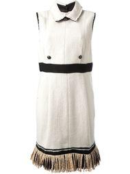 прямое платье с контрастным поясом Chanel Vintage