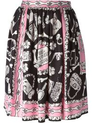 плиссированная юбка с принтом костей  Moschino Cheap & Chic