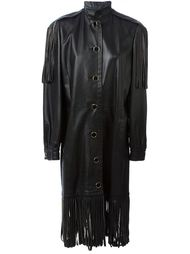кожаное пальто с бахромой Christian Dior Vintage