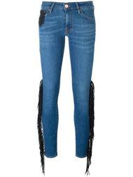 джинсы с кожаной бахромой Don't Cry