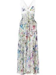 длинное платье с цветочным принтом Roberto Cavalli