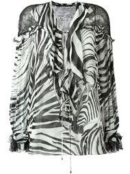блузка с зебровым принтом  Roberto Cavalli